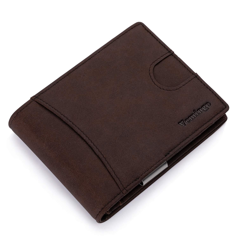 Vemingo Billetero de Hombre con Bolsillo de Moneda/Cartera Piel Hombre con Clip y RFID