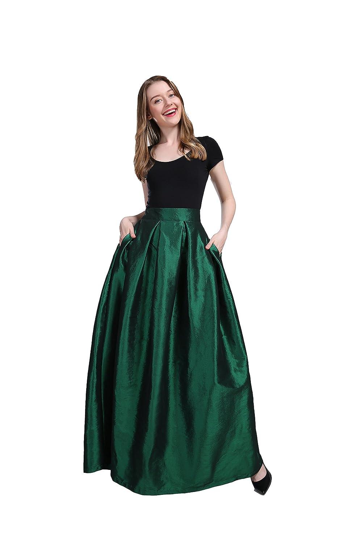 cb145cc1d5c Women s High Waisted A line Street Skirt Skater Pleated Full Midi Skirt  Waist is half elastic