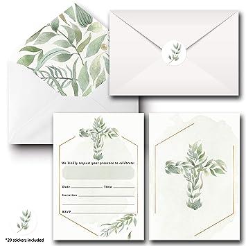 Tarjetas De Invitación 20 Invitaciones Religiosas