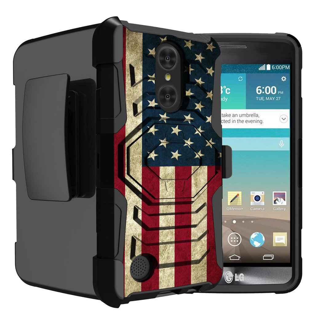 Untouchble Case for LG Phoenix 3, Aristo, Rebel 2, Fortune, Risio 2 [Rugged Holster Armor]- [Swivel Holster] Dual Layer Phone Protection and Built in [Kickstand] - Vintage America Flag