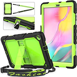 Galaxy Tab A 10.1 2019 Case,SM-T510/T515, [Portable Shoulder Strap] 3 Layers Rugged Shockproof Full Body Protective Case with Kickstand for Galaxy Tab A 10.1 2019(Green)