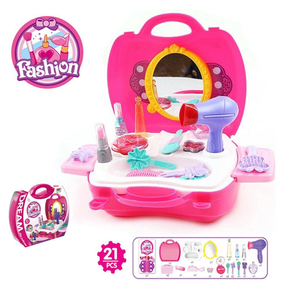 BonnieSun 21 Pcs Kids Pretend Play Makeup And Cosmetic Vanity Case Durable Dress-up Beauty Kit Hair Salon Playset for Girls