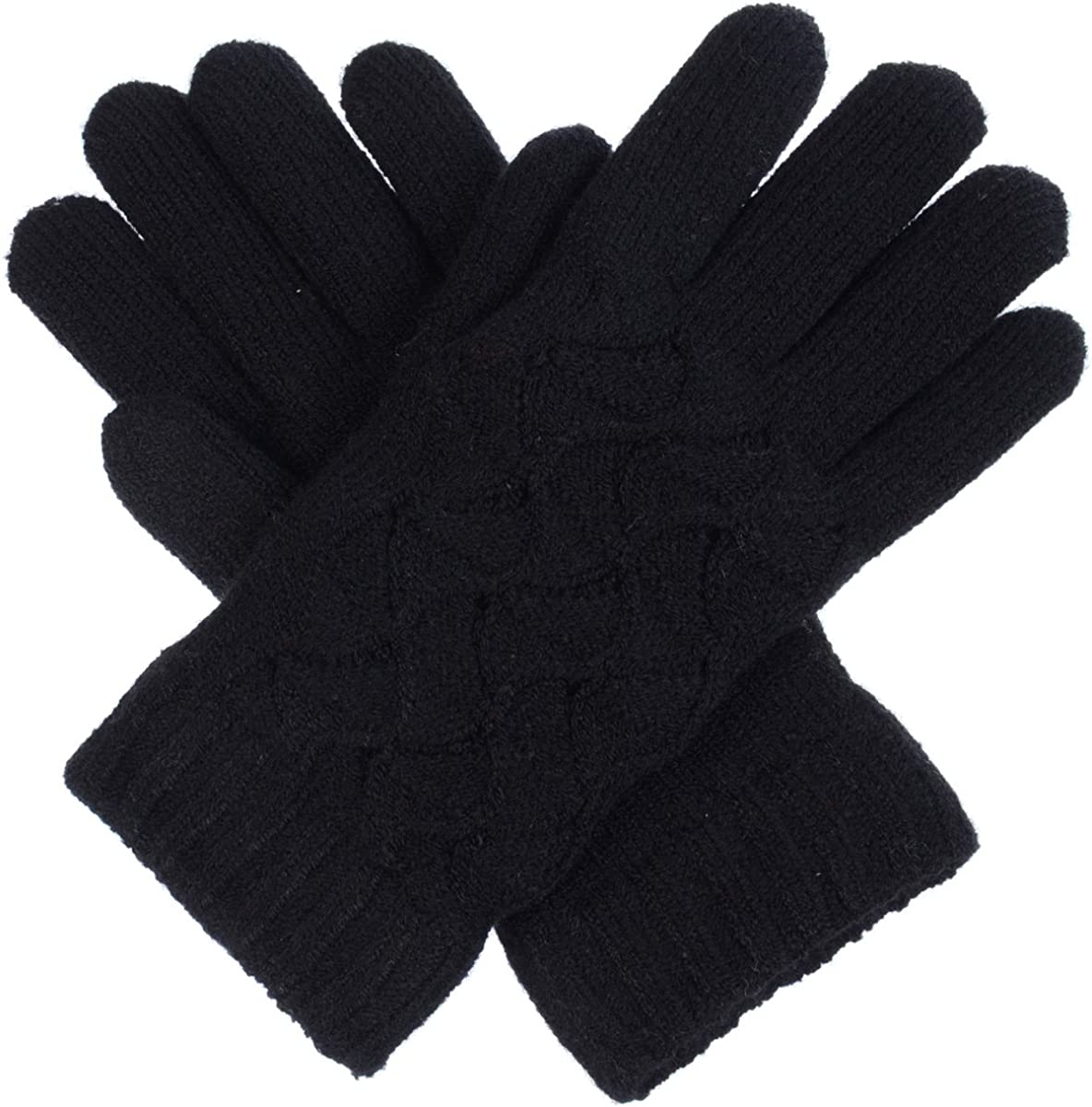 BYOS Womens Winter Fashion Swirl Pattern Plush Faux Fur Fleece Lined Knit Gloves