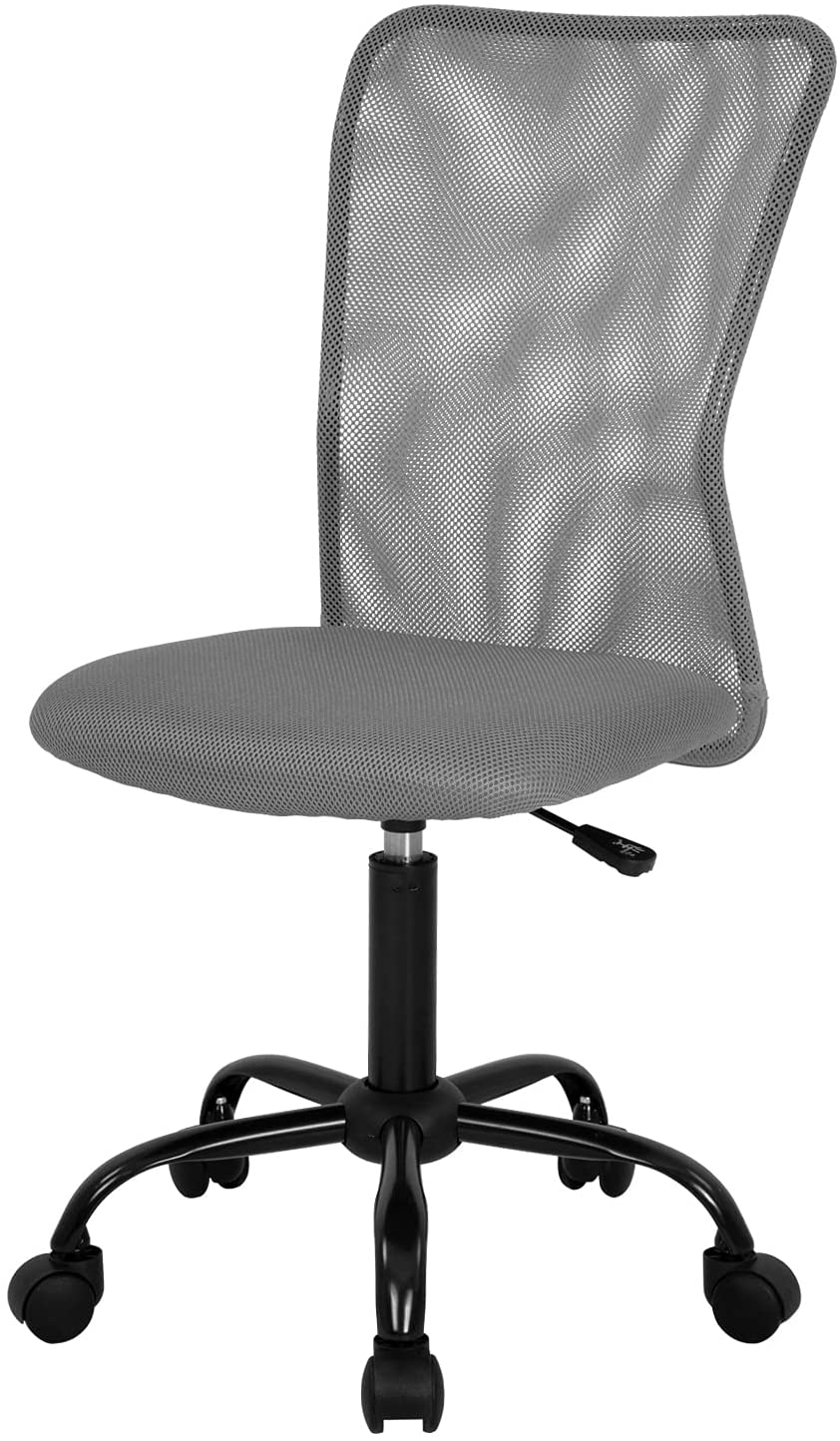 Home Office Chair Mid Back Mesh Desk Chair Armless Computer Chair Ergonomic Task Rolling Swivel Chair Back Support Adjustable Modern Chair with Lumbar Support (Grey)