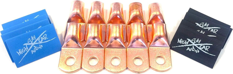 10 1//0 AWG Gauge Copper Lugs w// ORANGE /& BLACK Heat Shrink Ring Terminals
