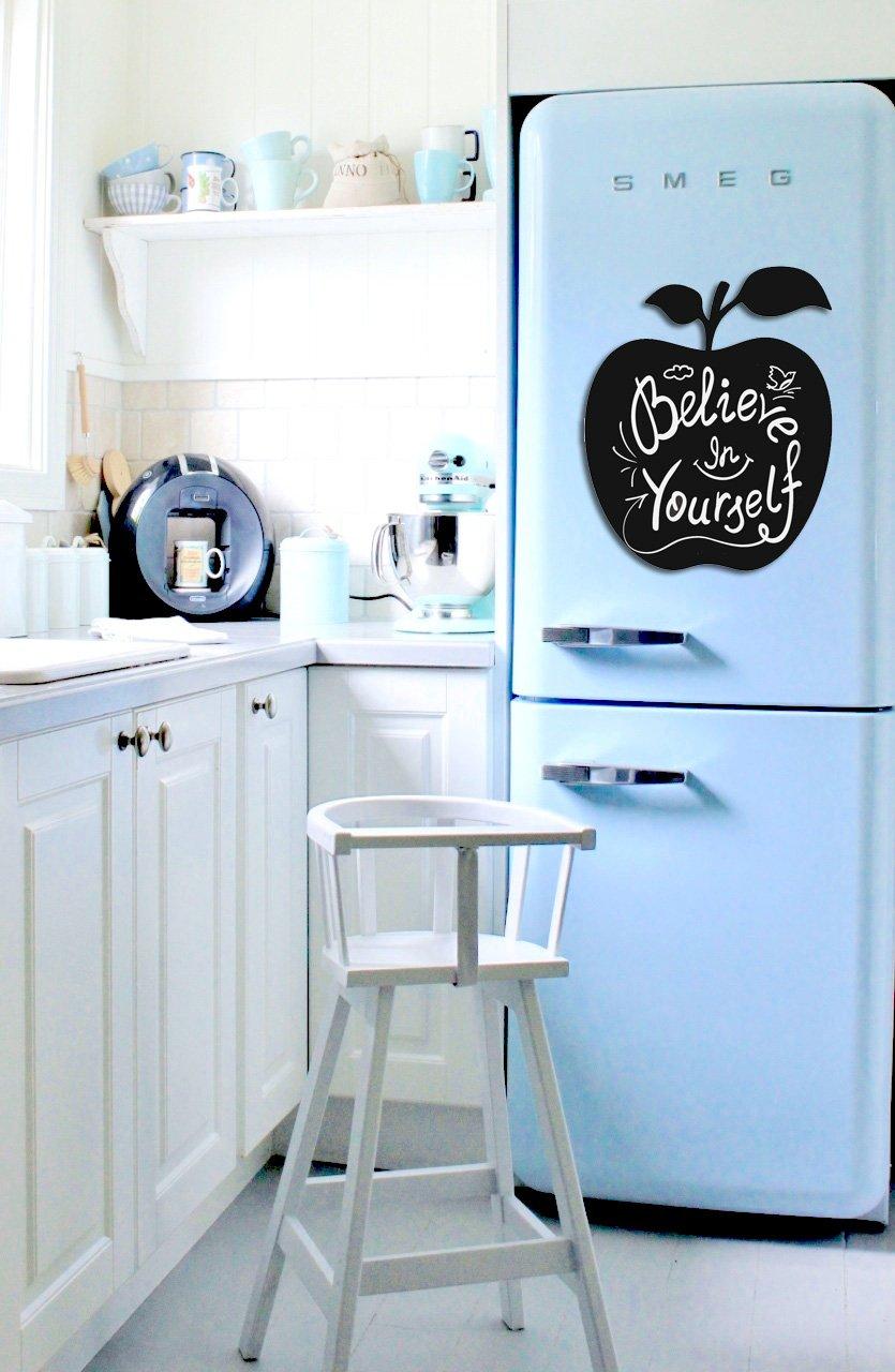 MELPOSMEL Chalkboard Decal peel and stick APPLE design 12 x 14.5 BLACK. Take stylish notes!