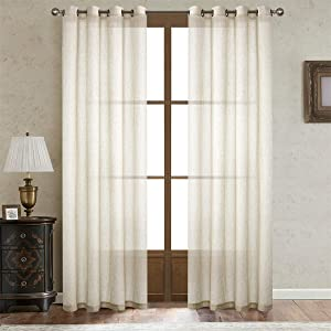 Dreaming Casa Natural Linen Sheer Curtains for Bedroom,Solid Semi Sheer Grommet Top Two Panels for Living Room (2 Panels, 52''W x 84''L)