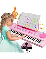 Digital Piano Keyboard, Magicfun 61-Key Portable Electric Keyboard Piano Electronic Kids Piano Keyboard Educational Toy with Stand Microphone Support USB for Girls Boys Pink