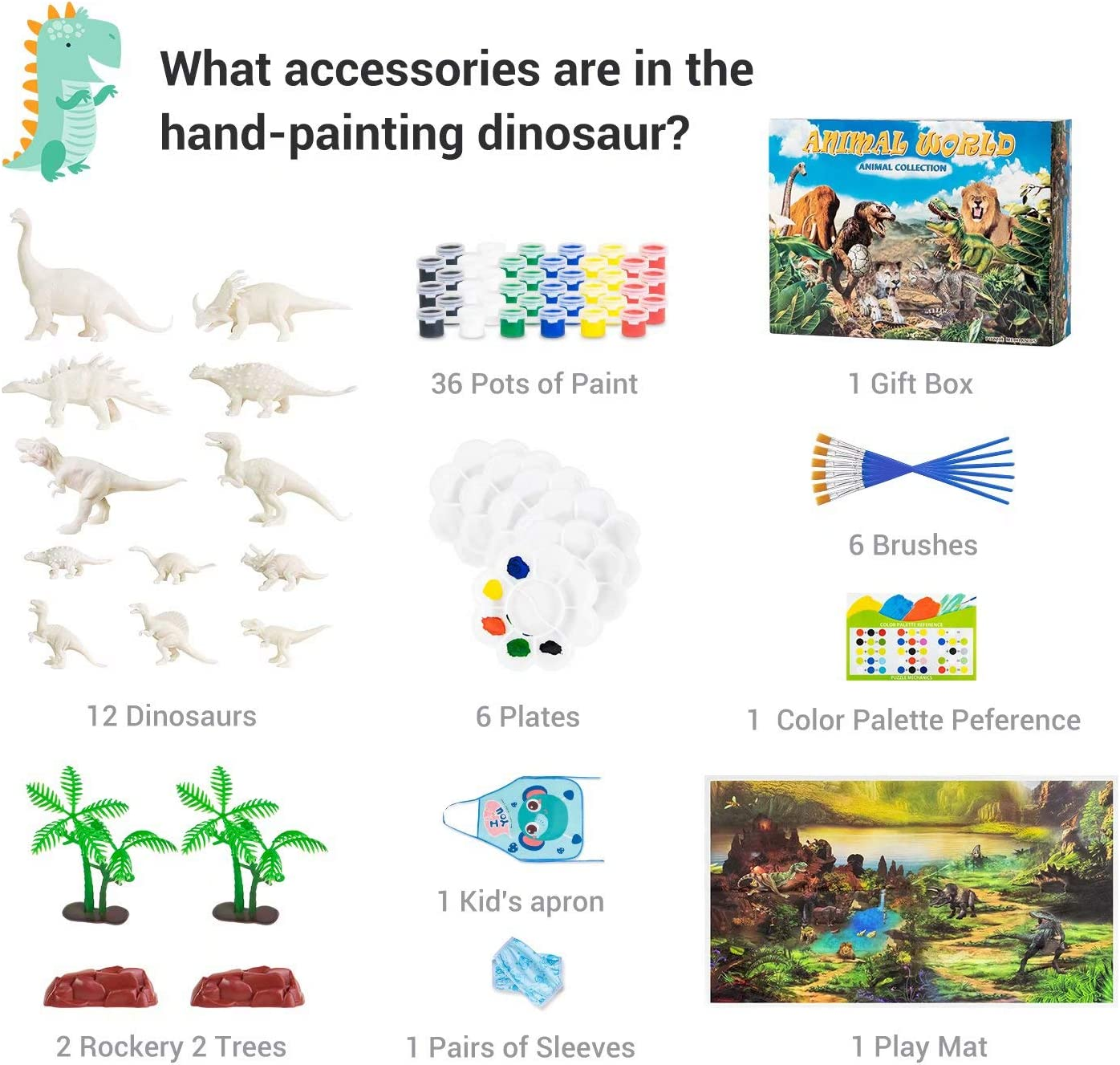 Kids Dinosaur Painting Kits 70pcs DIY Dinosaur Toys Art and Craft with Kids Apron Decorate Your Own Dinosaur Figurines 3D Drawing for Boys Girls Ages 3-12 Play Mat