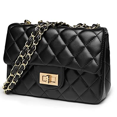 GeWeDen Small Quilted Leather Crossbody Shoulder