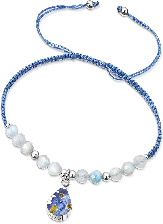 Shrieking Violet® - Pulsera de piedras preciosas de color azul claro con cuentas de aguamarina - Gota de plata de ley hecha a mano con verdaderos olvidos - Talla única