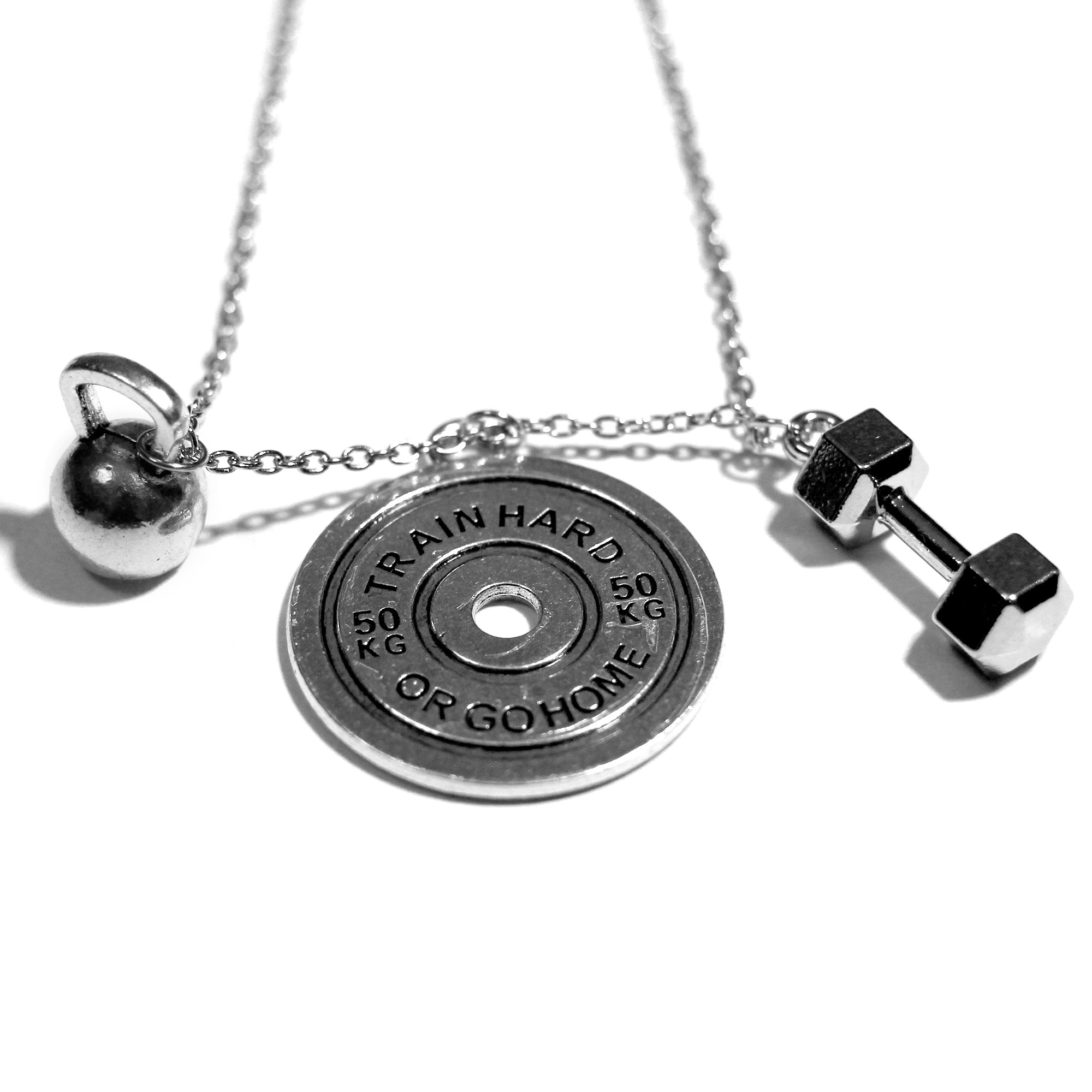 ''Train Hard'' Necklace By Santa Monica Charm Co. With Dumbbell and Kettlebell Pendants