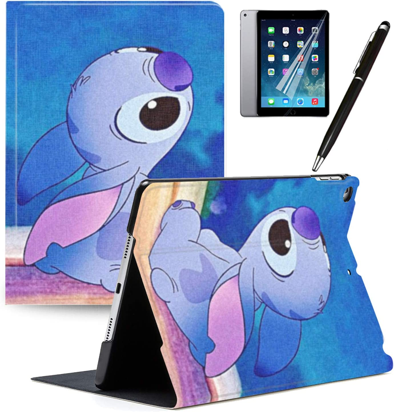 iPad 2018(6th Gen) iPad 2017(5th Gen) Case Cartoon Lilo & Stitch Cartoon Protection Lightweight PU Leather Smart Auto Sleep/Wake Cover Also Fit iPad Air 2 / iPad Air#A