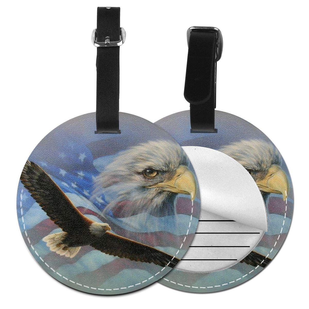 American Flag Eagle Jinsshop 4 PCS Leather Luggage Tag With Name ID Card Perfect To Quickly Spot Luggage Suitcase