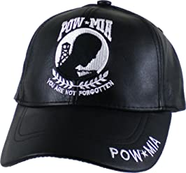 8359b56f5cf46 K&S Unique Pow MIA Logo Leather Mens Cap [Black - Adjustable]