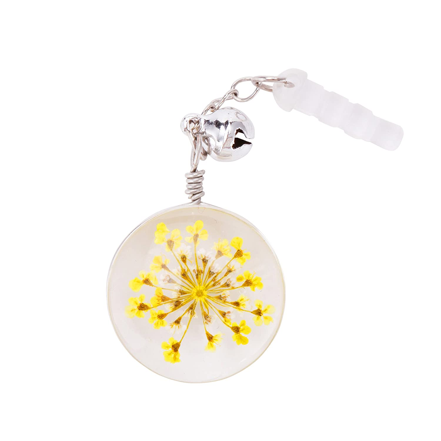 iPad Yellow Samusung and Other 3.5mm Ear Jack iPod VaporMao Handmade Real Flower Anti Dust Plug// Ear Cap // Cell Phone Charms For iPhone