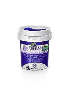 Yes To Super Blueberries Recharging Yogurt & Probiotics 3-in-1 Mask, Scrub & Cleanser, 4 Fluid Ounce