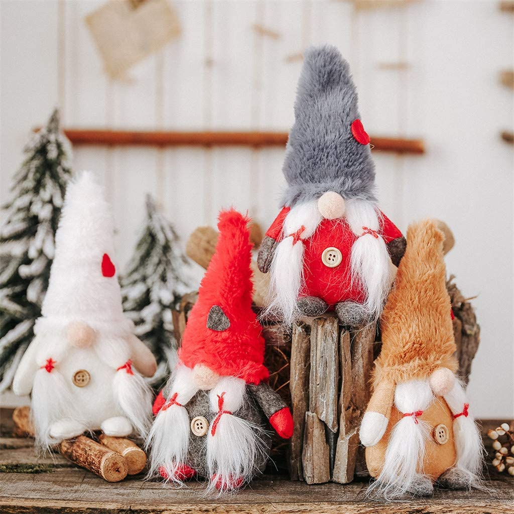 Spritumn Small Cute Lovely Christmas Wool Forest Man No Face Dolls Hanging Ornaments Home Xmas Christmas Tree Pendant Decorations Style RD