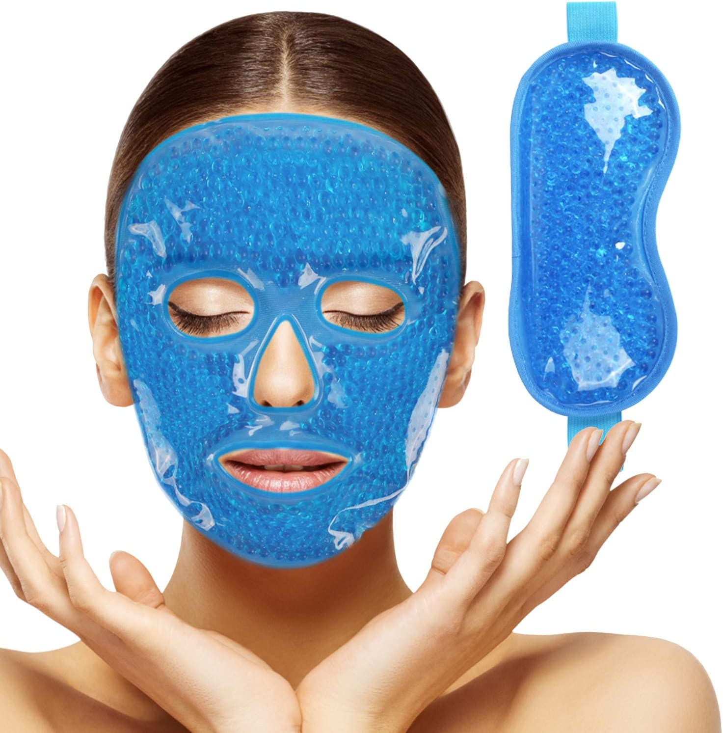 2pcs Gel Beads Face & Eye Masks Kit Hot/Cold Mask Cooling Ice/Heat Facial Eye Pack Therapy for Puffy Eyes, Migraines, Headaches, Pain Relief with Soft Back Reusable