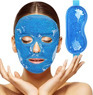 2pcs Gel Beads Face & Eye Masks Kit Hot/Cold Mask Cooling Ice/Heat Facial Eye Pack Therapy for Puffy Eyes, Migraines, Headaches, Pain Relief with Soft Back Reusable Gift