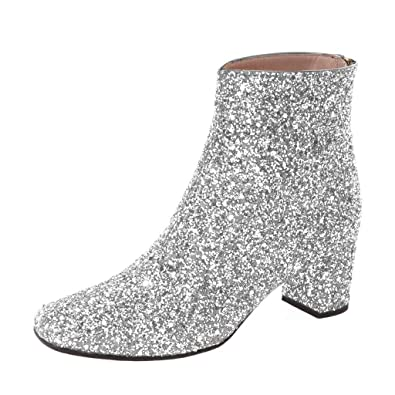 e4c6c550b200 XYD Glitter Low Block Heel Ankle Boots Sequins Pointed Toe Dress Booties  Shoes with Zips Size