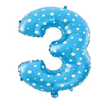 Cotigo–Globo Número 3 de Foil Color Azul con Estrella para Fiestas de Cumpleaños 40cm de Alto
