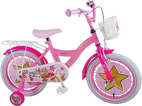 Unbekannt LOL - Bicicleta Infantil de 16 Pulgadas para niña, a Partir de 4 años, Freno de contrapedal, Ruedas de Apoyo, Cesta Rosa: Amazon.es: Deportes y aire libre