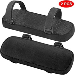 INTSUN Armrest Pad 2Pcs Padded Armrest Cushion Universal Arm Rest Pads with Adjustable Hook & Loop Fastener Elbow Pillow Memory Foam Arm Chair Covers for Office Chair, Wheelchair, Gaming Chair (Black)