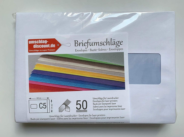 50 sobres con ventana, C5=229 x 162 mm, imprimibles con láser ...