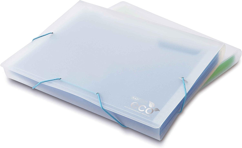 Rapesco Documentos, Carpeta Archivadora Ecologica Tipo Acordeon A4 con 13 Compartimentos, Color Transparente con Verde / Azul