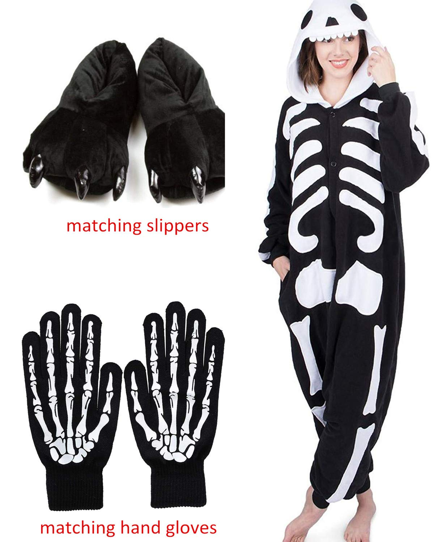ReachMe Adult Animal Onesies Pajamas Stitch Skeleton Dinosaur Costumes Loungwear Pjs(3 Skeleton,M)