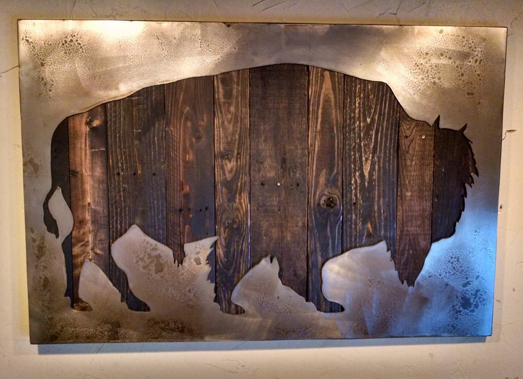 American Bison Art with Reclaimed Wood and Aged Steel