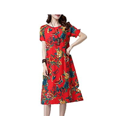 NUNUNI Fashion cotton linen vintage print women casual loose summer dress vestidos femininos party dresses hongdi