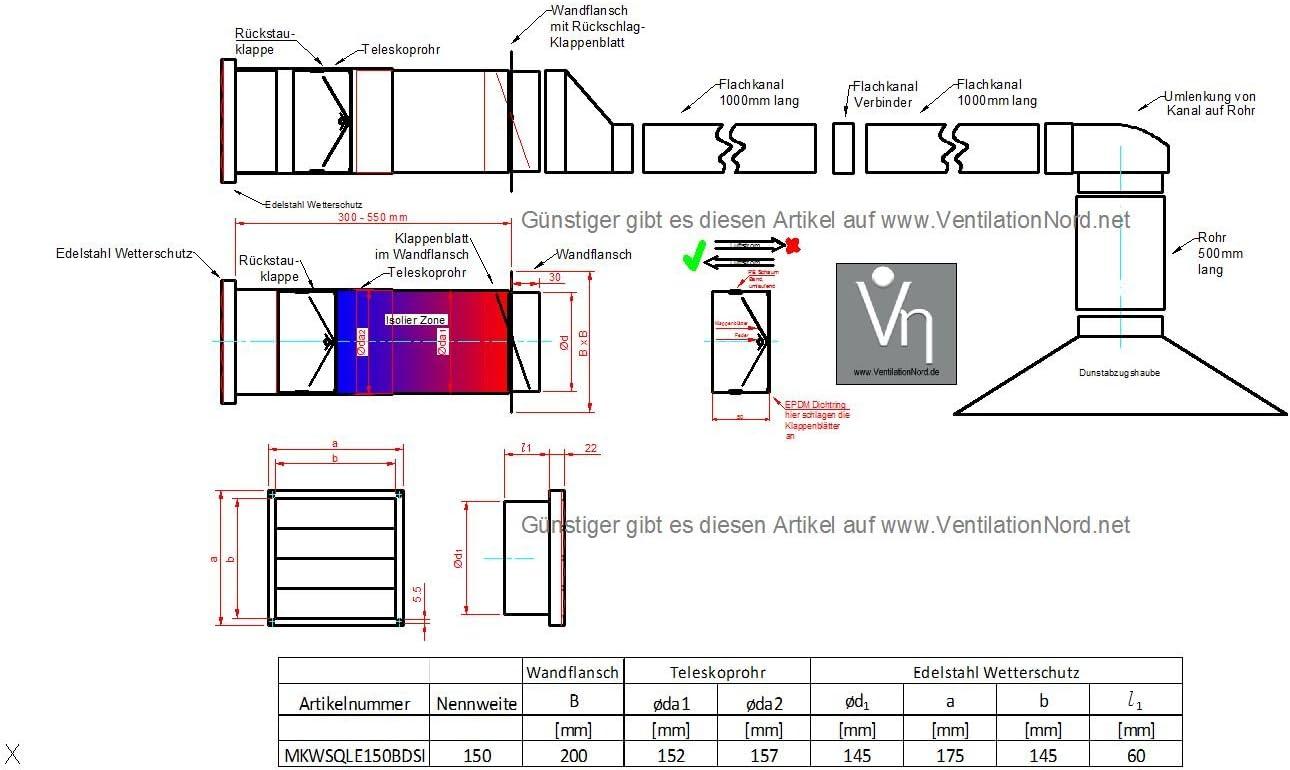 Mauerkasten /Ø150 Dunstabzug Abluft Edelstahl R/ückstauklappe Flachkanal 220x90mm