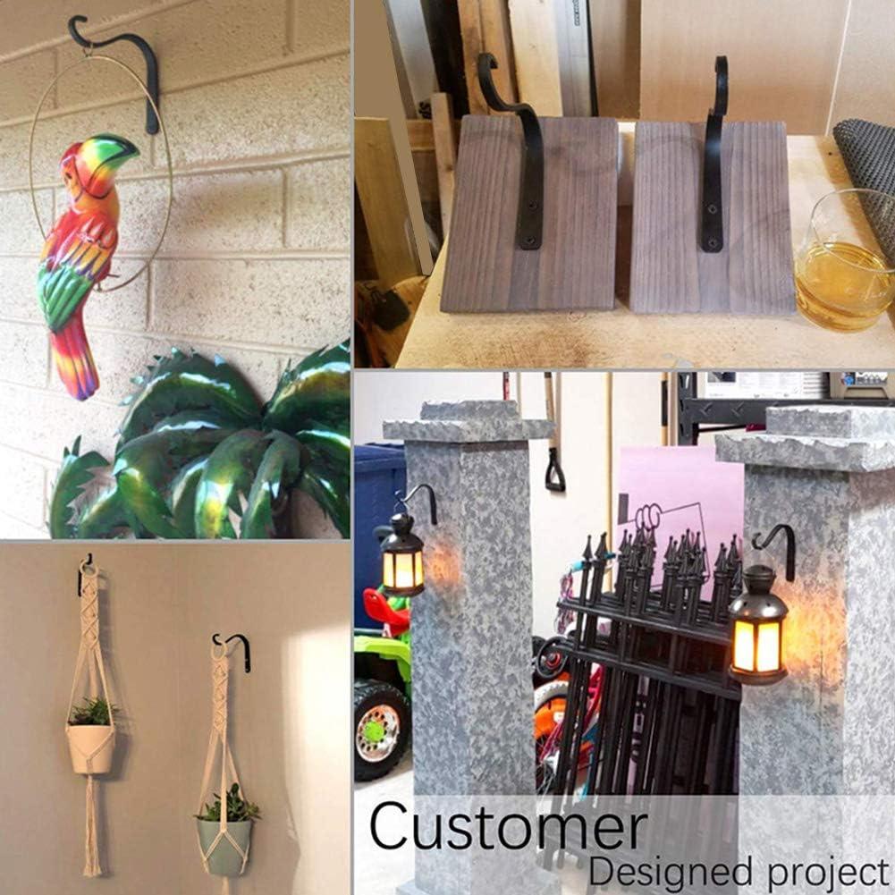 Iron Wall Hooks Rustic Metal Lantern Bracket Mason Jar Sconces for Bird Feeders Wind Chimes Plant Planter Coat Indoor Outdoor Rustic Home Decor 5x4.4inch
