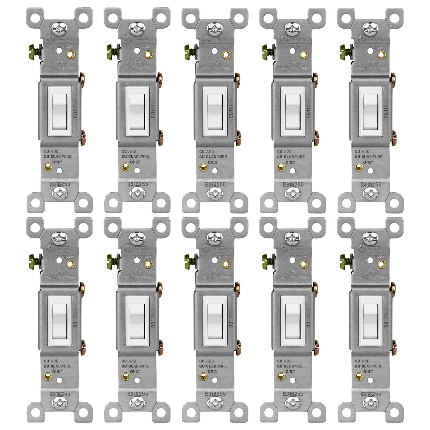 ENERLITES Toggle Light Switch, Single Pole, Steel Frame, Residential Grade, Ground Screw, 88115-W-10PCS, White (10 Pack)