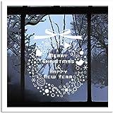 Motif de flocon de neige arbre de Noël Bells blanc fenêtre stickers muraux de vinyle décoration de Noël Merry Christmas DIY Art Stickers