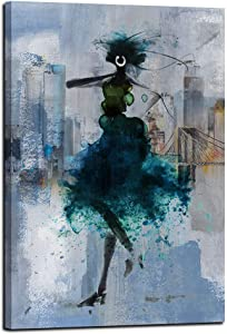 """Canvas Wall Art Sexy Black Girl Pictures the Tower Manhattan Cityscape, Blue Lady Theme Modern New York City Artwork, Elegant Woman Empire Building Painting Prints framed for Office Bedroom Bathroom Home Decor- 24""""x36"""" One Panels"""