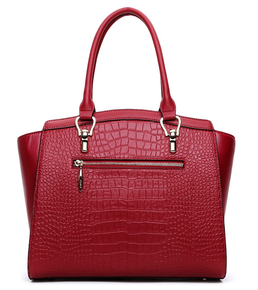 c39d5d93f5 Cluci Handbags for Women Clearance Leather Designer Purse Tote Crossbody  Shoulder Bags Crocodile Wine Red  Amazon.in  Shoes   Handbags