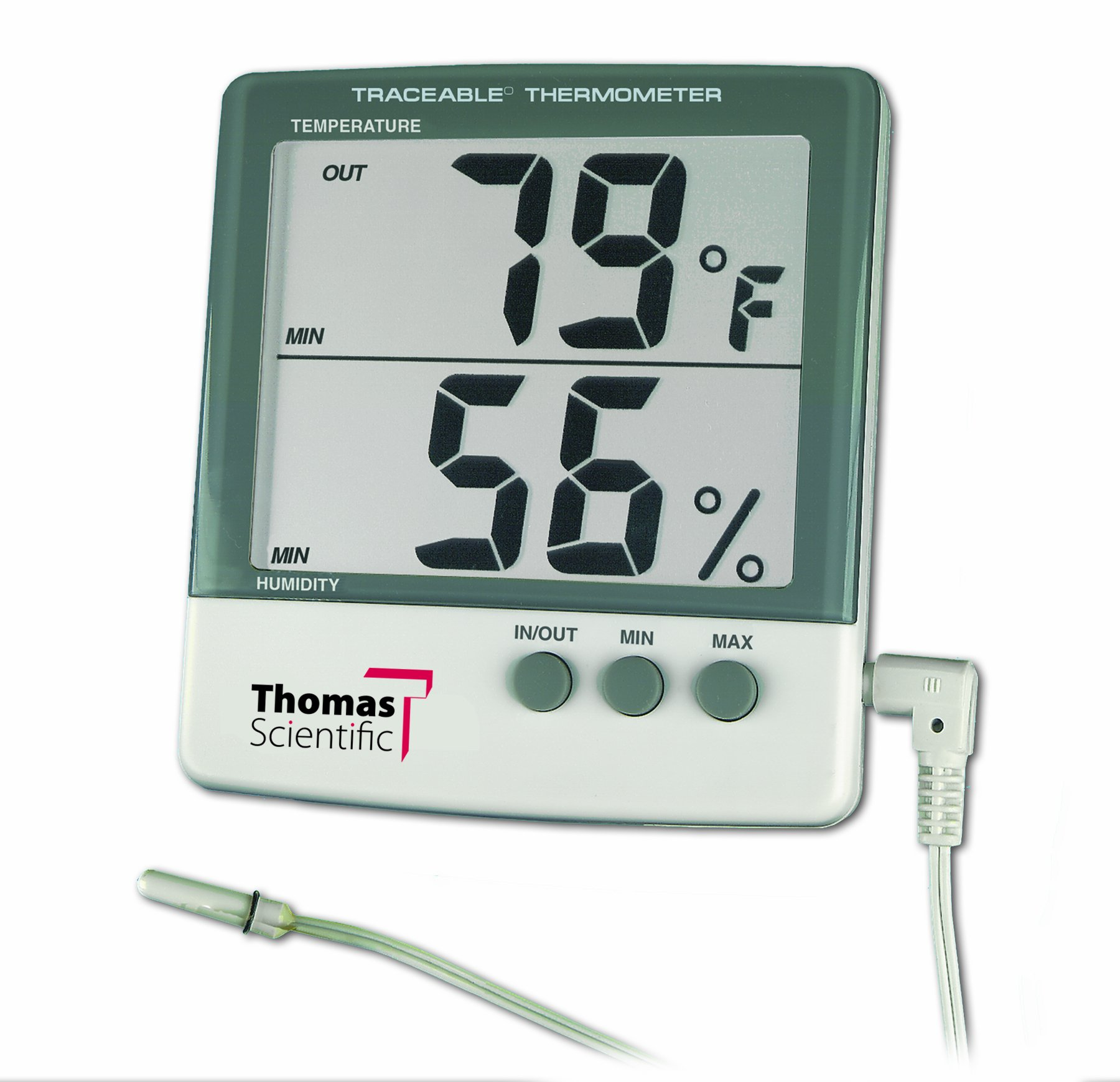 Thomas 4184 ABS Plastic Traceable Jumbo Thermo-Hygrometer, 1-1/8'' High Display, 1 percent RH Resolution, -1 degree C Accuracy