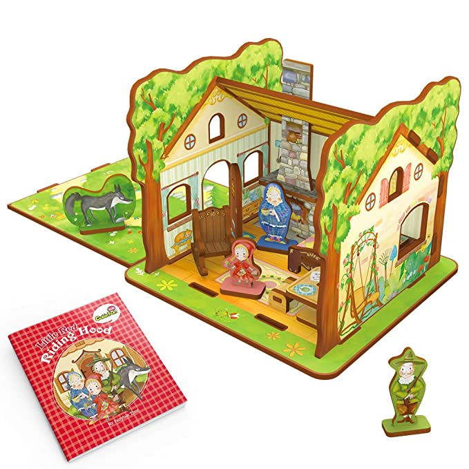 CubicFun Fairytale Time Little Red Riding Hood Playset with Educational Storybook, Game Cards and Cosplay Hat