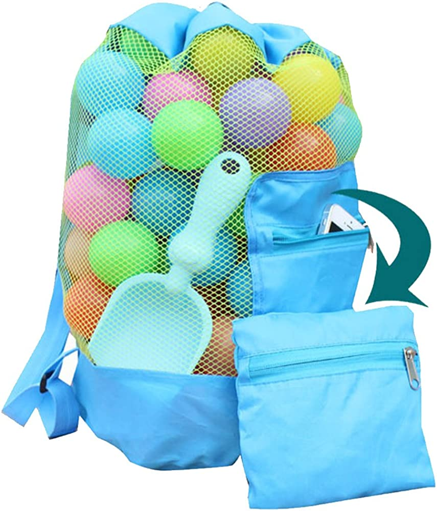 Mesh Beach Toys Bag Extra Large Beach Bags and Totes Sand Tote Bag Storage Bags Children Toys Beach Toy Organizer Kids Sand Toys Collector Perfect for Holding Toys Stay Away from Sand Green+Blue
