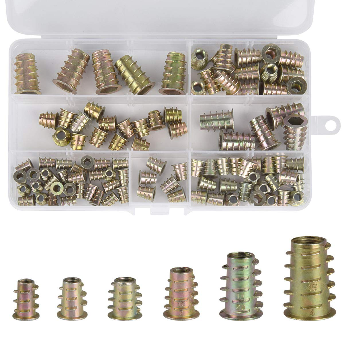 Hotgod M4 M5 M6 M8 M10 Zinc Alloy Furniture Hex Socket Screw Inserts Threaded Insert Nuts Assortment Tool Kit for Wood Furniture, 100Pcs
