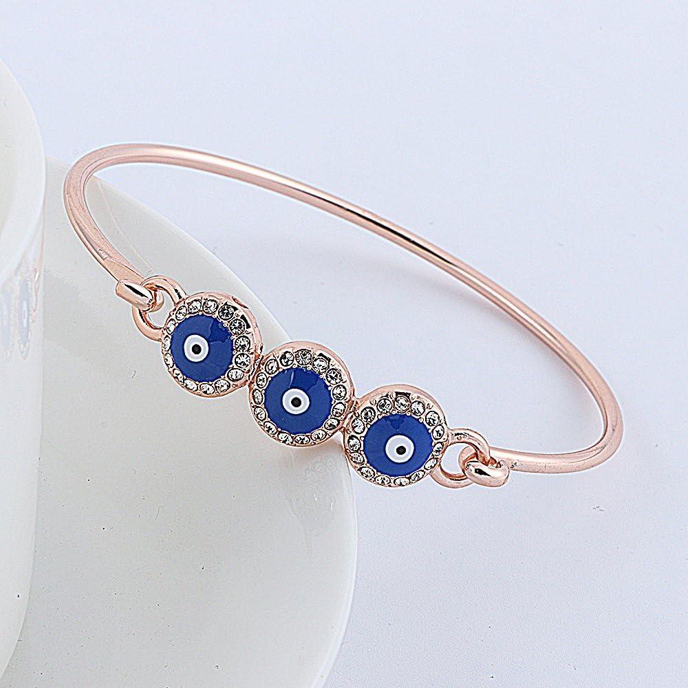 RUXIANG Enamelled Navy Blue Mini Evil Eye Bangle Bracelet for Women Girls