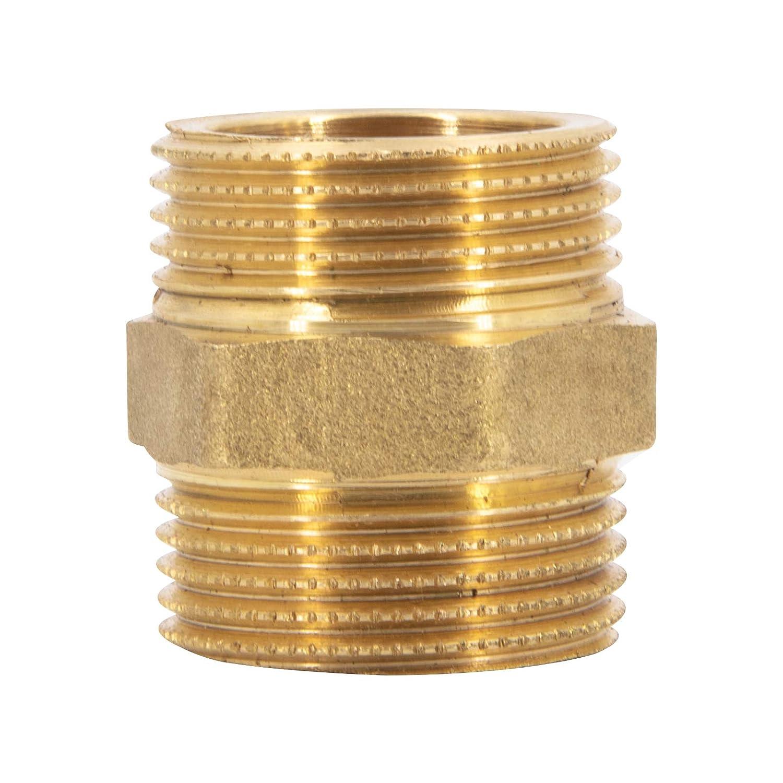 1 pieza de conexi/ón Boquilla doble de lat/ón manguito de pezones boquilla de manguito o boquilla de tac/ón para industria industria y hogar 1