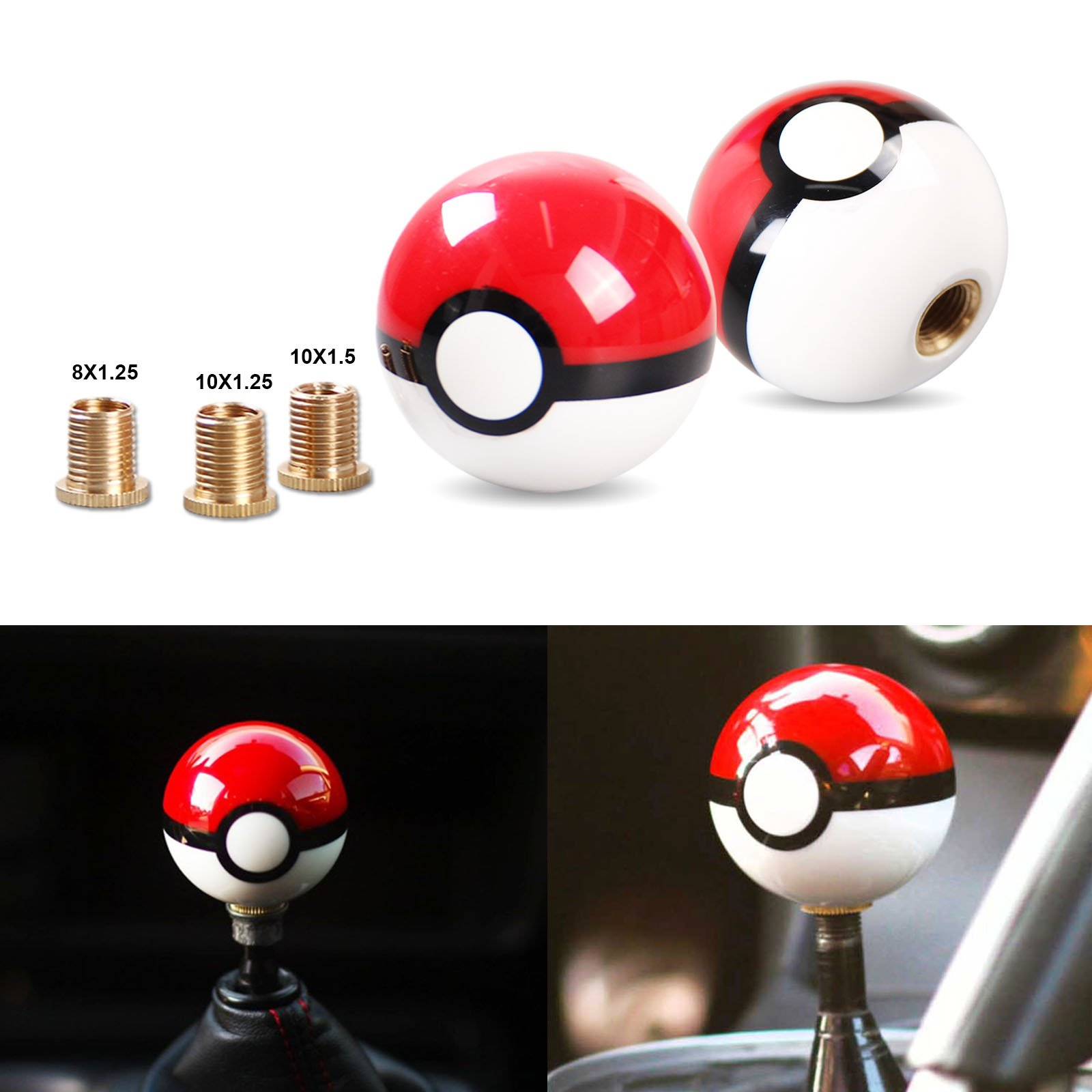 Universal Pokemon Poke Ball Shift Knob M10X1.25 for Acura Toyota Honda