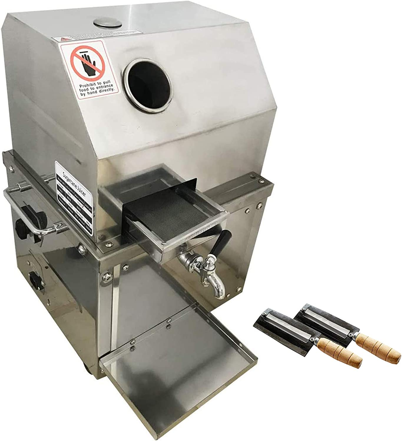 INTBUYING Electric Sugar Cane Juicer Machine Commercial Sugarcane Press Extractor with 3 Rollers Stainless Steel including 2pcs Knives