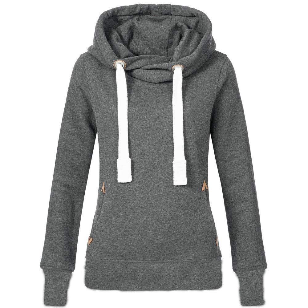 Rovinci_Women Plus Size Plain Hooded Long Sleeve High Necked Hoodie Solid Color Casual Hoody Pocket Jumper Pullover Sweatshirt