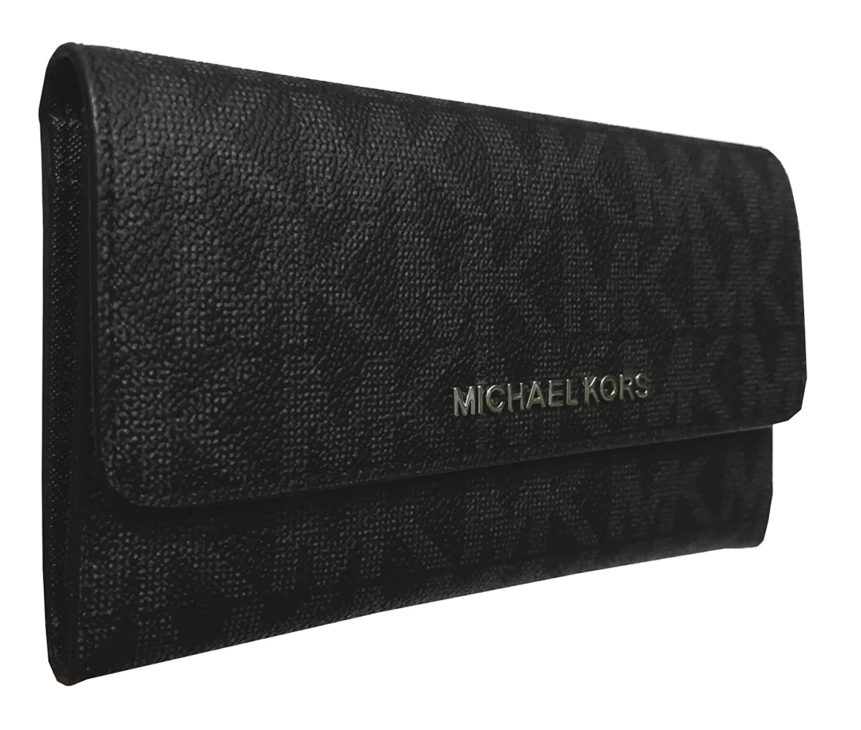 b5b7a8bb35fa Michael Kors Jet Set Travel Large Trifold PVC Wallet Black at Amazon  Women's Clothing store: