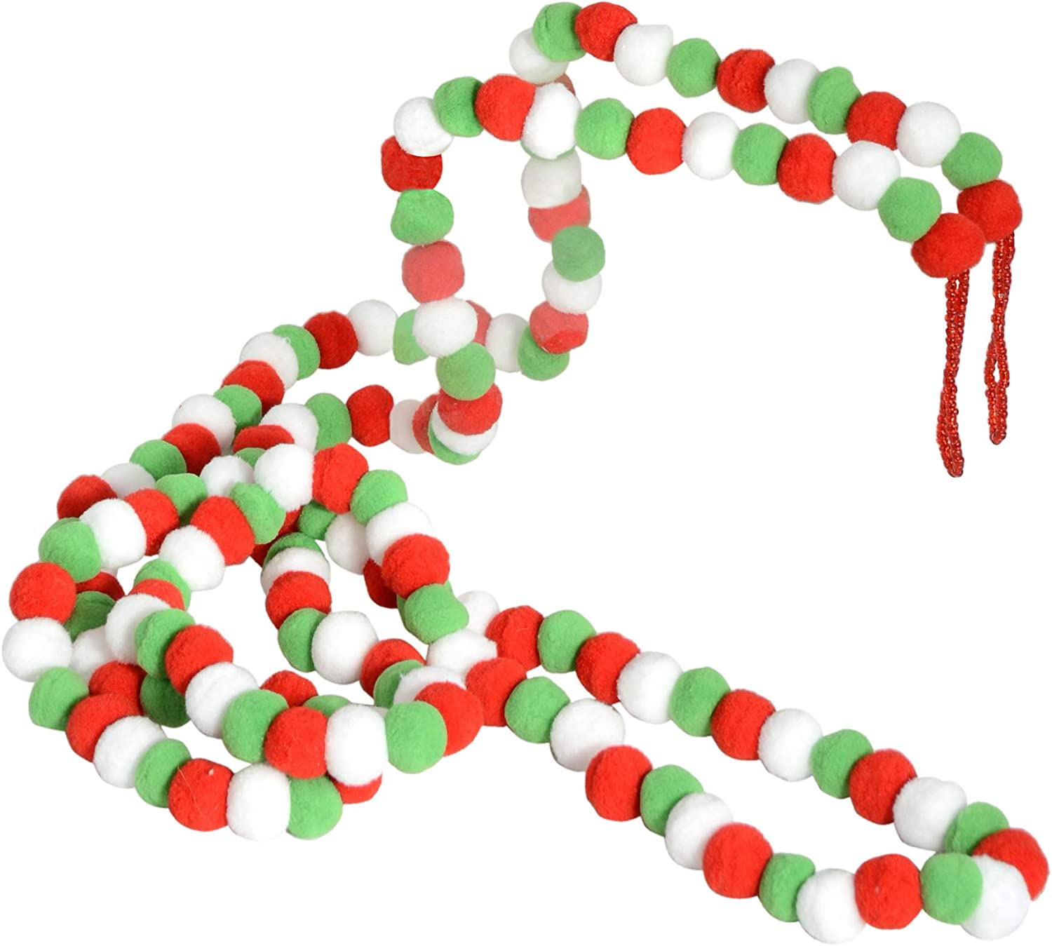 TenWaterloo 9 Foot Pom Pom Christmas Garland in Red 108 Inches Christmas and Holiday Decor Green and White with Beaded Hanging Loops